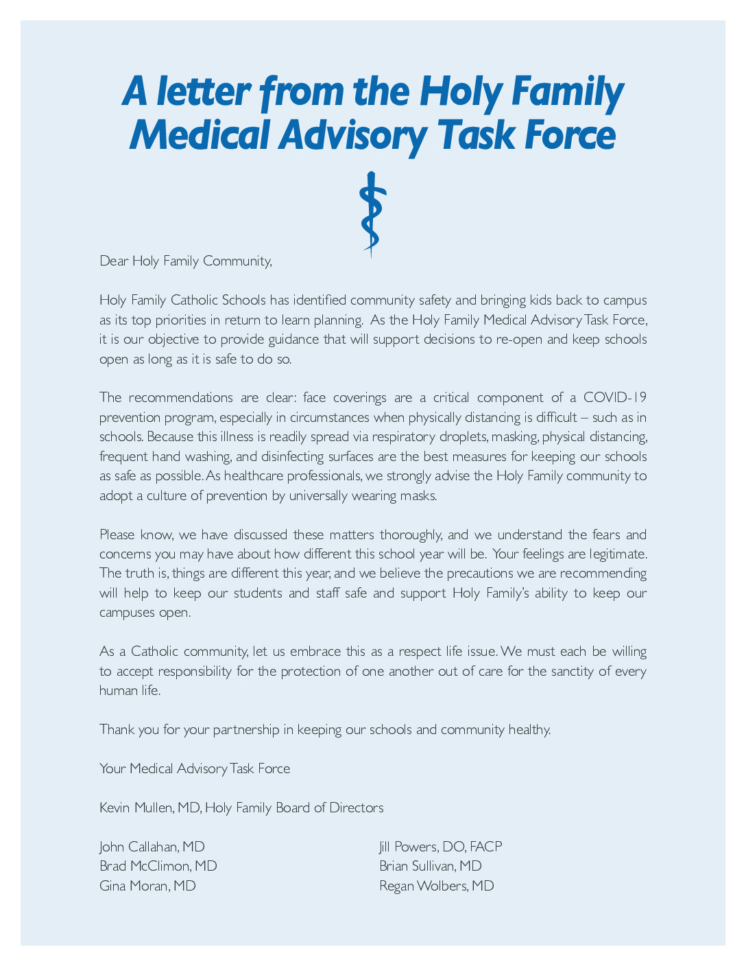 thumbnail of A letter from the Holy Family Medical Advisory Task Force